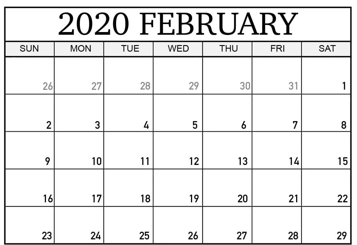 Blank Calendar February 2020 Printable