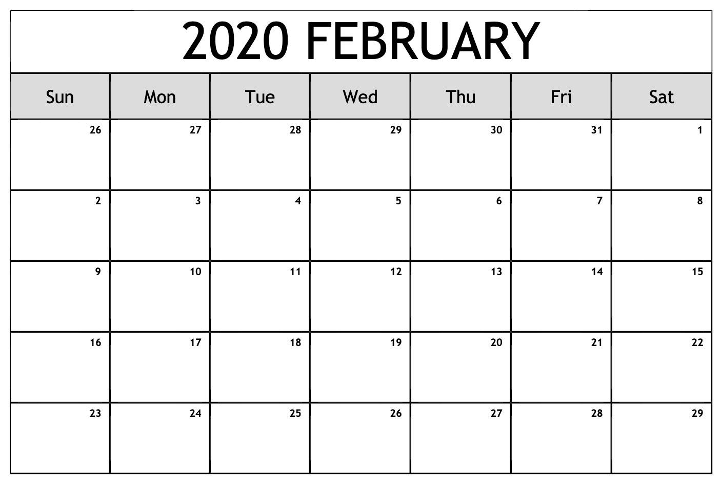 Blank February 2020 Calendar Printable