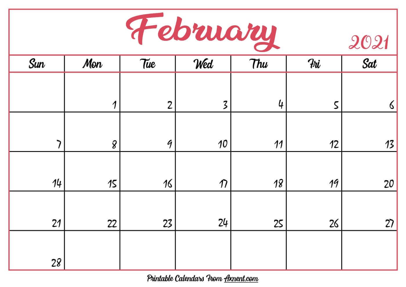 Cute February 2021 Calendar
