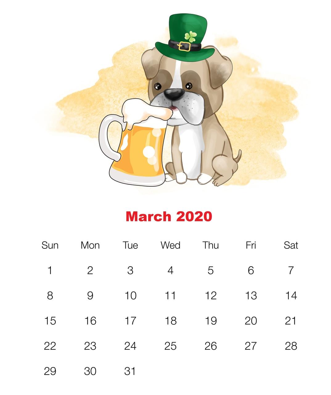 Cute March 2020 Calendar For Kids