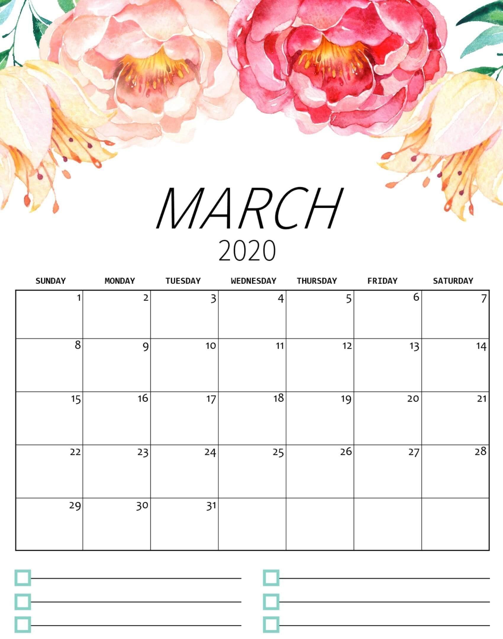 Cute March 2020 Floral Calendar