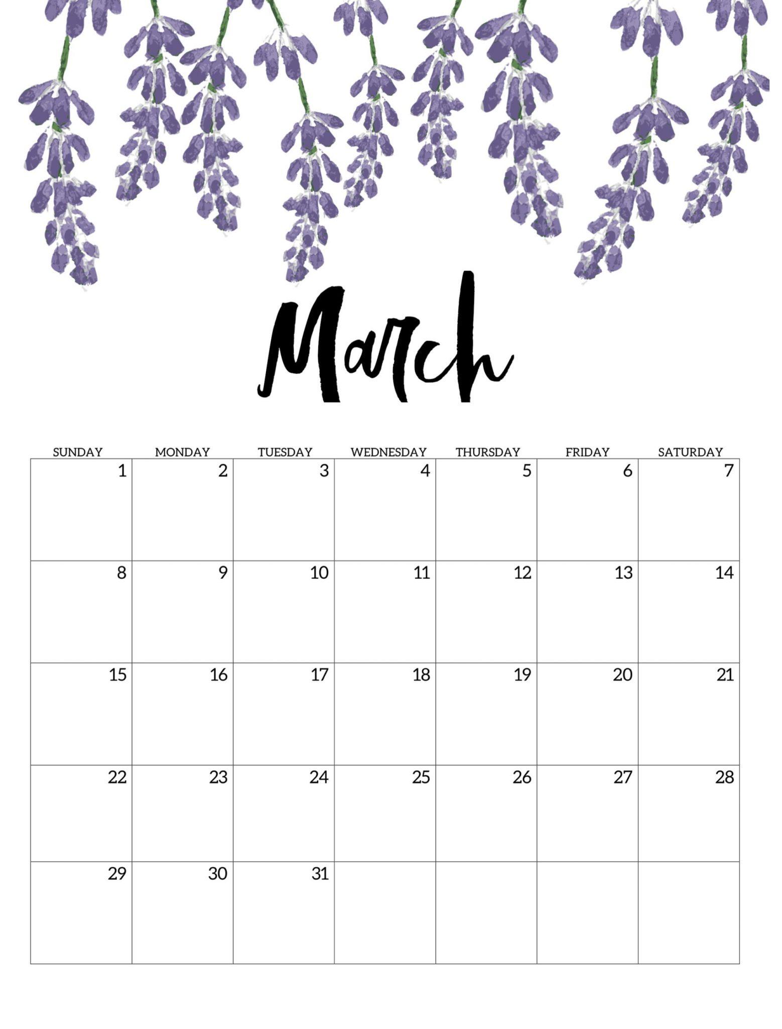 Cute March 2020 Wall Calendar