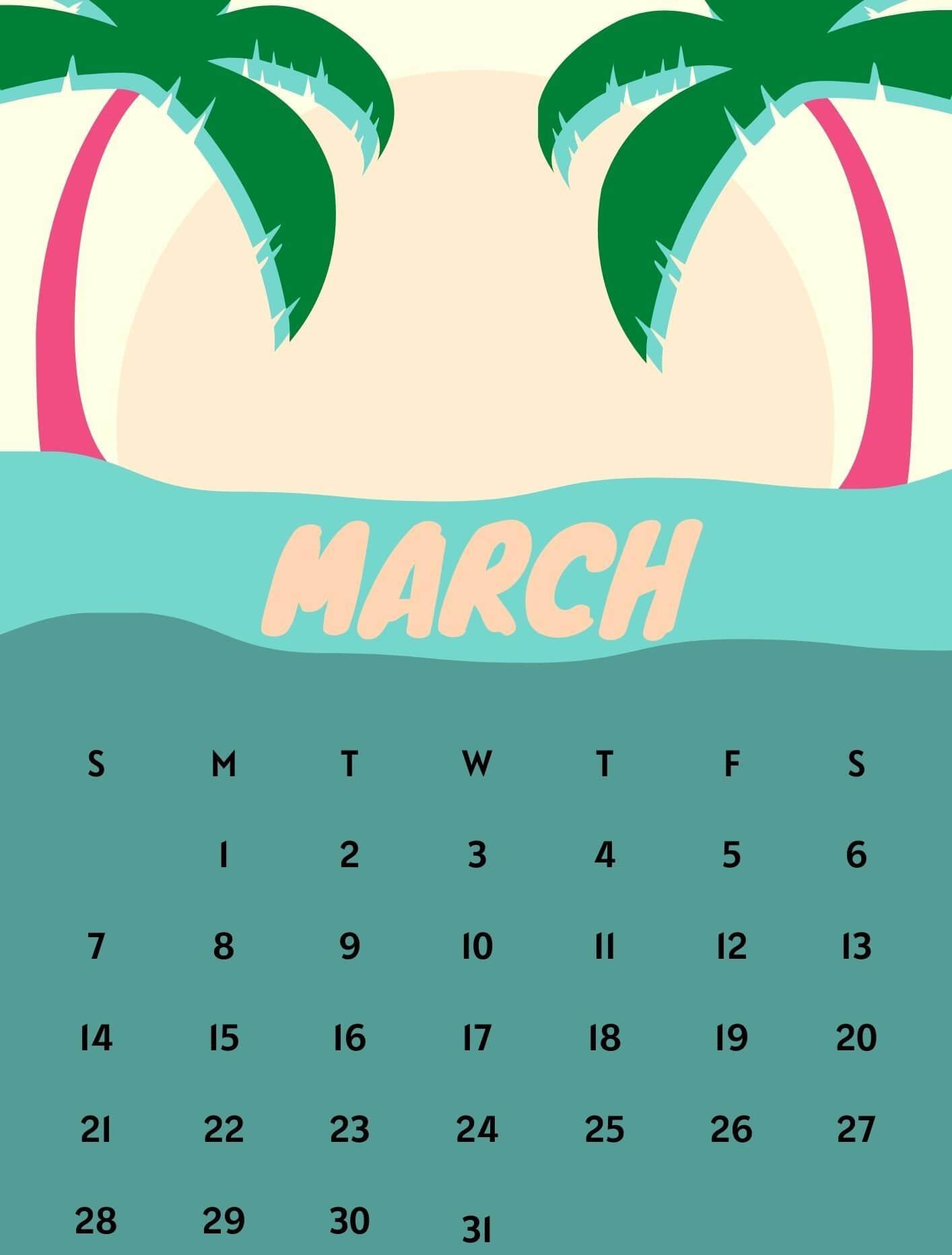 Cute March 2021 Calendar Design