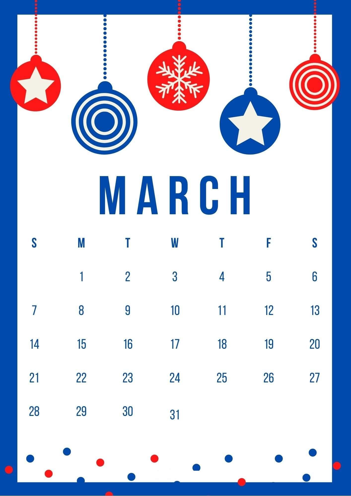 Cute March 2021 Calendar Templates