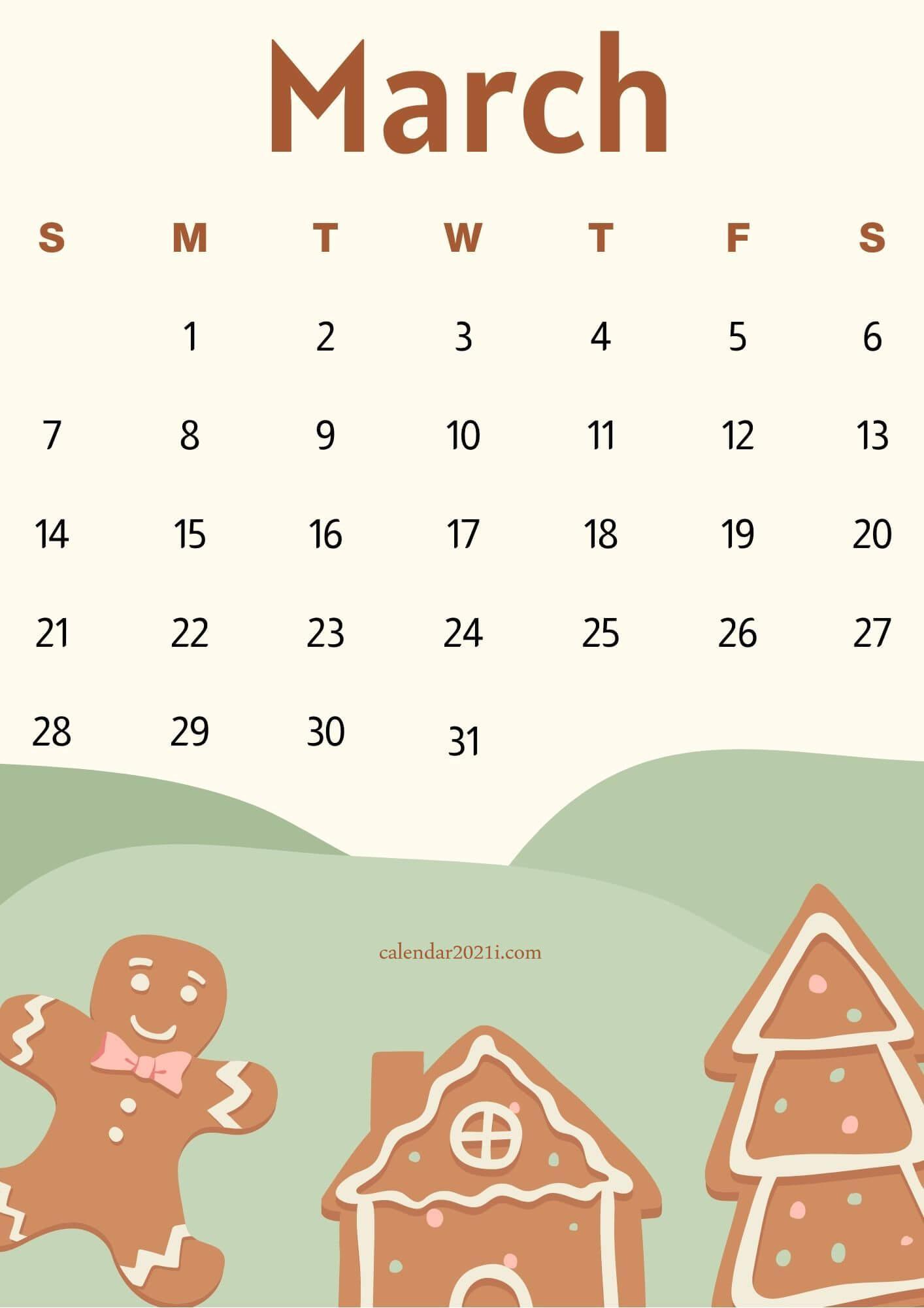 Cute March 2021 Calendar Wallpaper