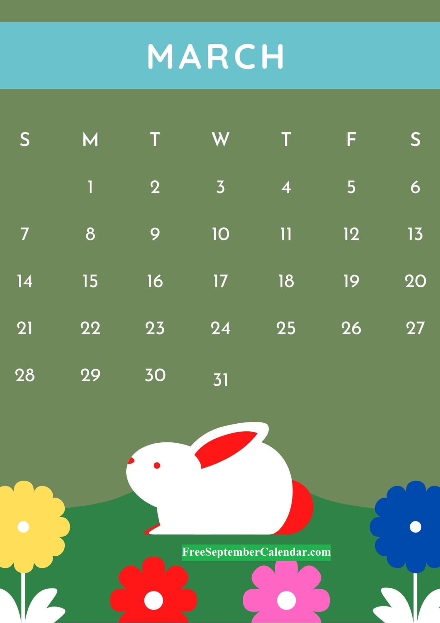 Cute March 2021 Desk Calendar