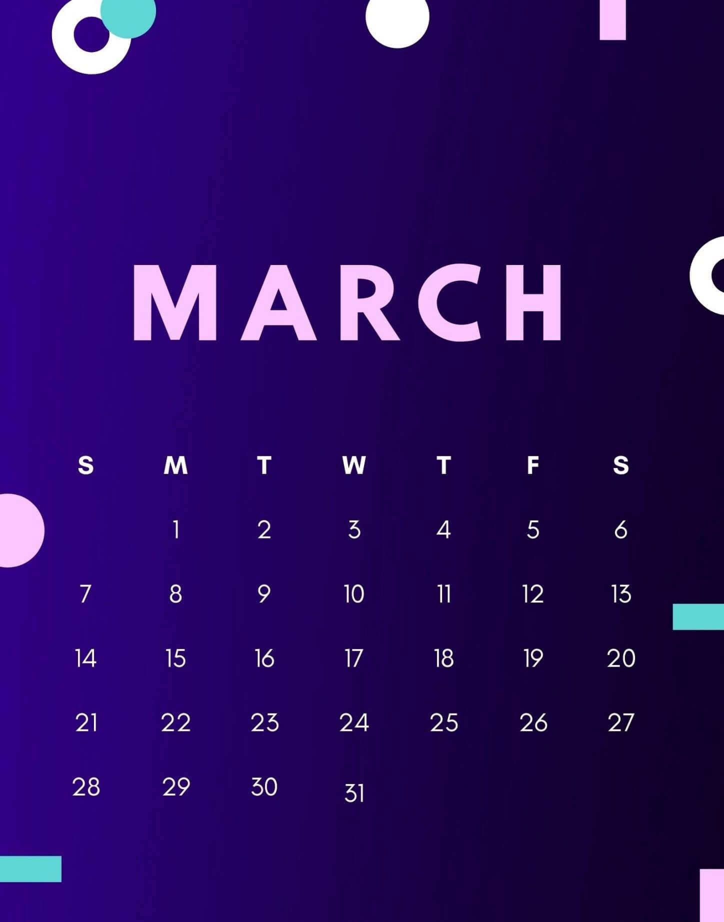 Cute March 2021 Wall Calendar