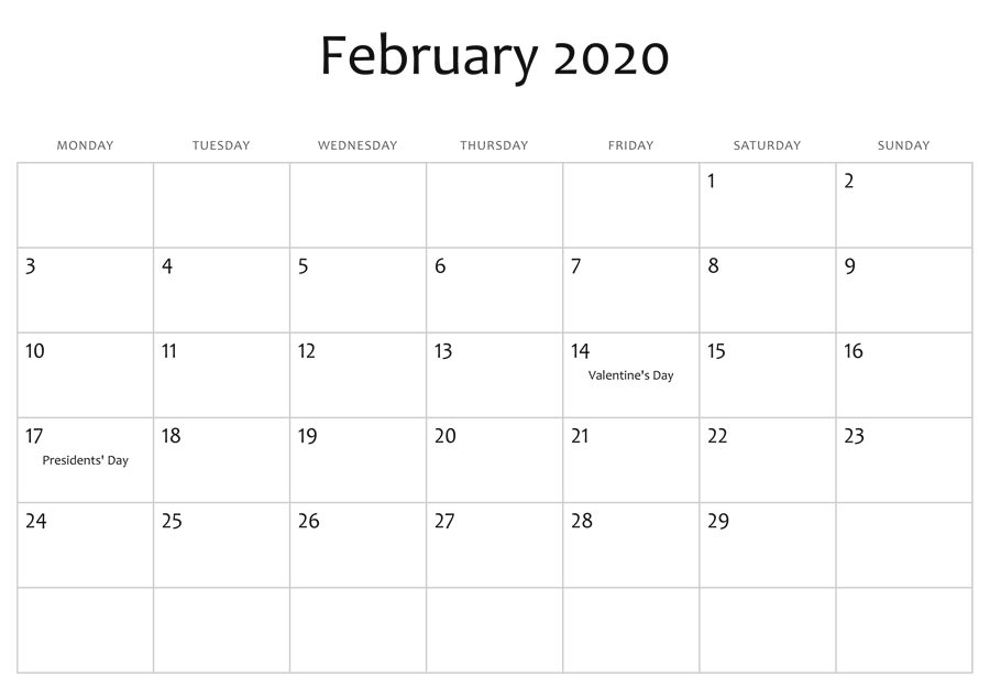 February 2020 Calendar Printable with Holidays