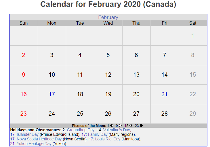 February 2020 Calendar with Holidays Canada