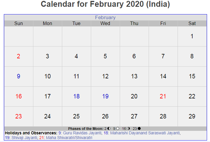 February 2020 Calendar with Holidays India