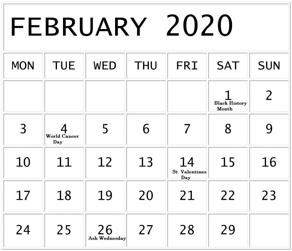 February 2020 National Holidays Calendar