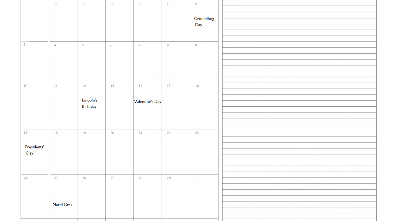February 2020 USA Holidays Calendar