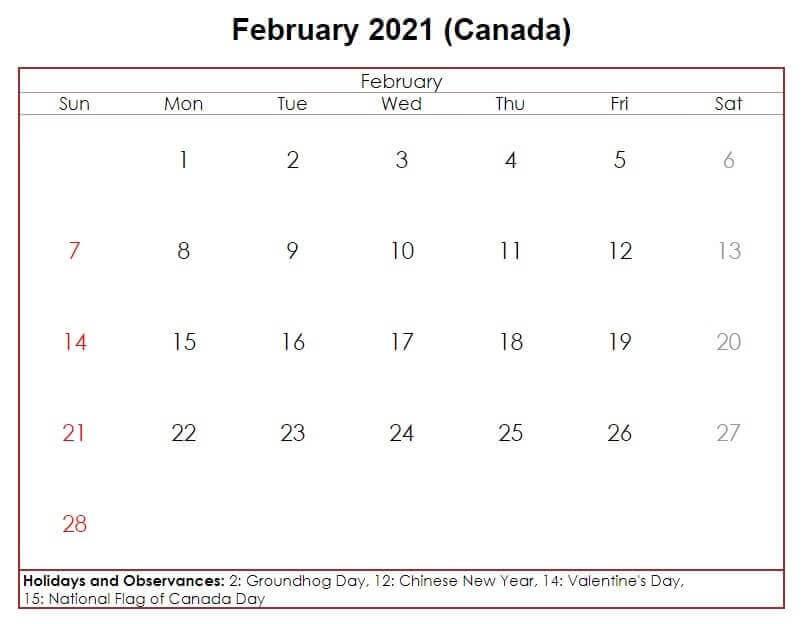 February 2021 Canada Holidays Calendar