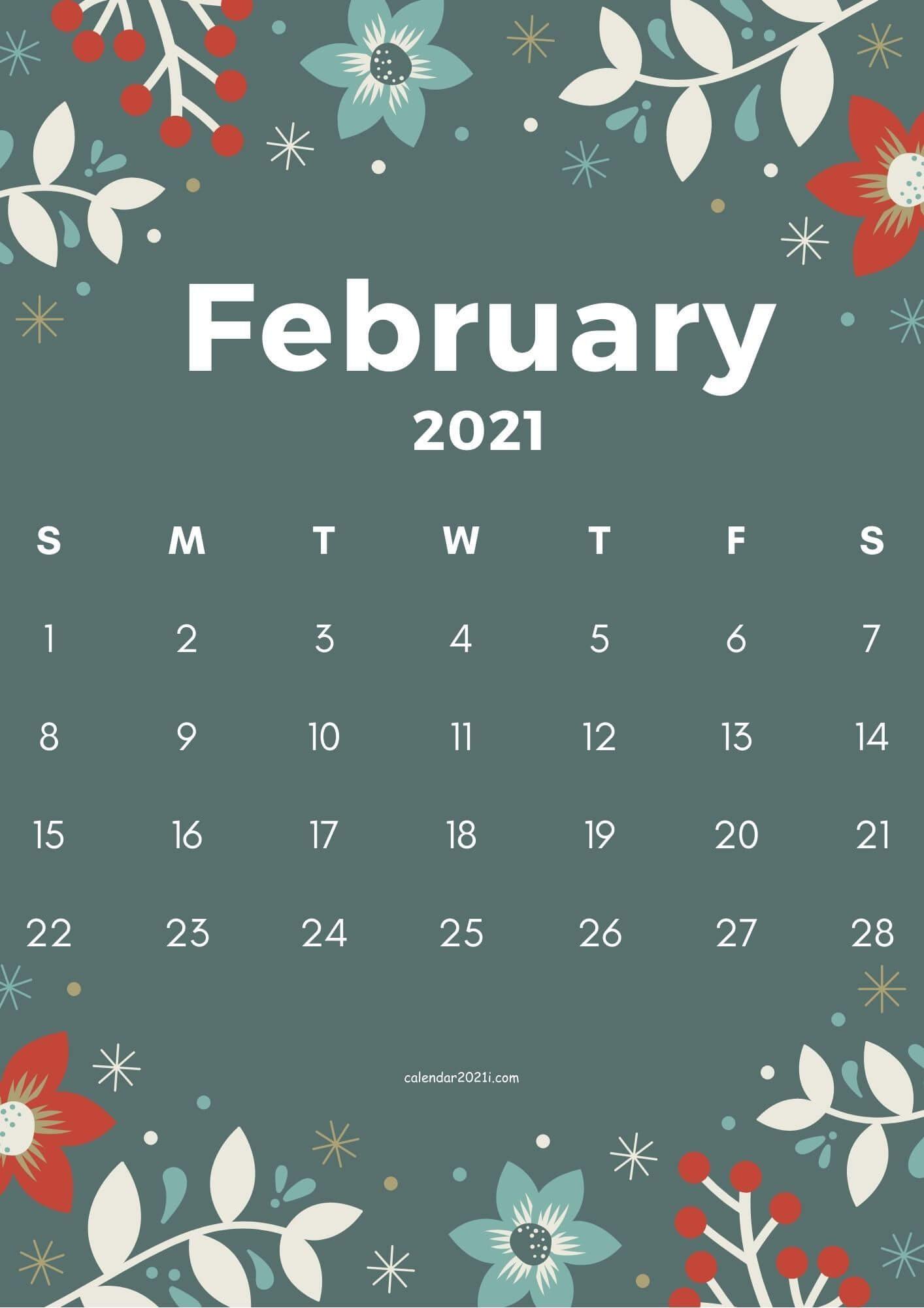 February 2021 Flower Calendar Wallpaper
