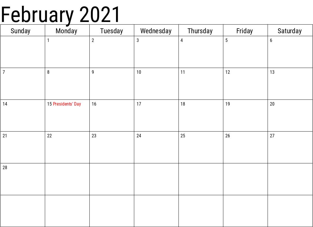 February 2021 Holidays Calendar