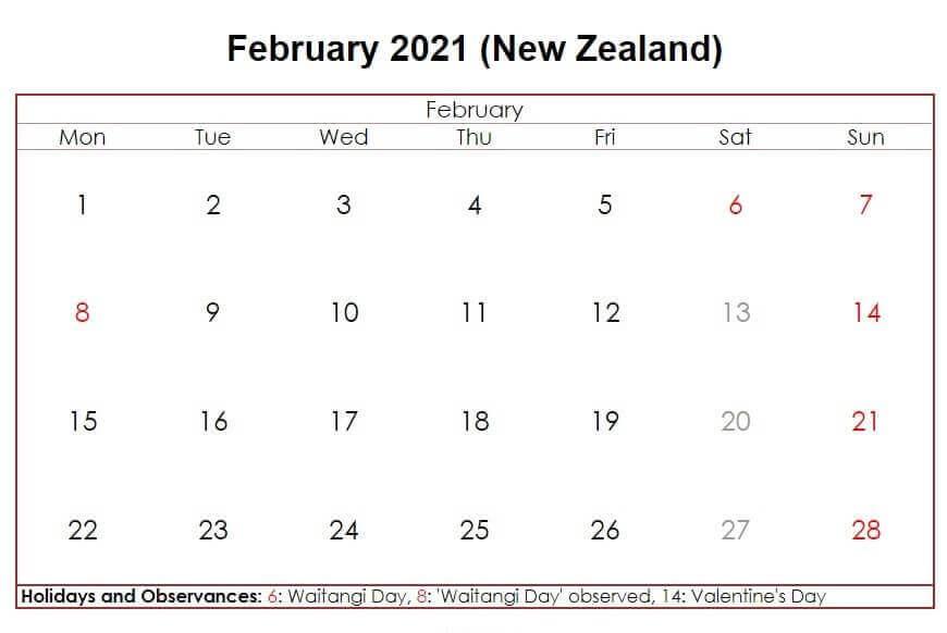 February 2021 New Zealand Holidays Calendar
