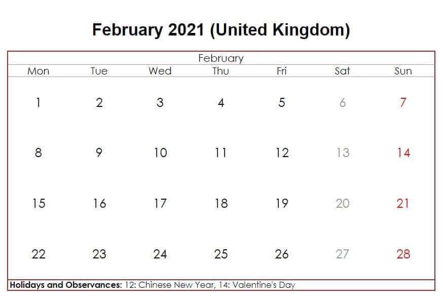February 2021 UK Holidays Calendar