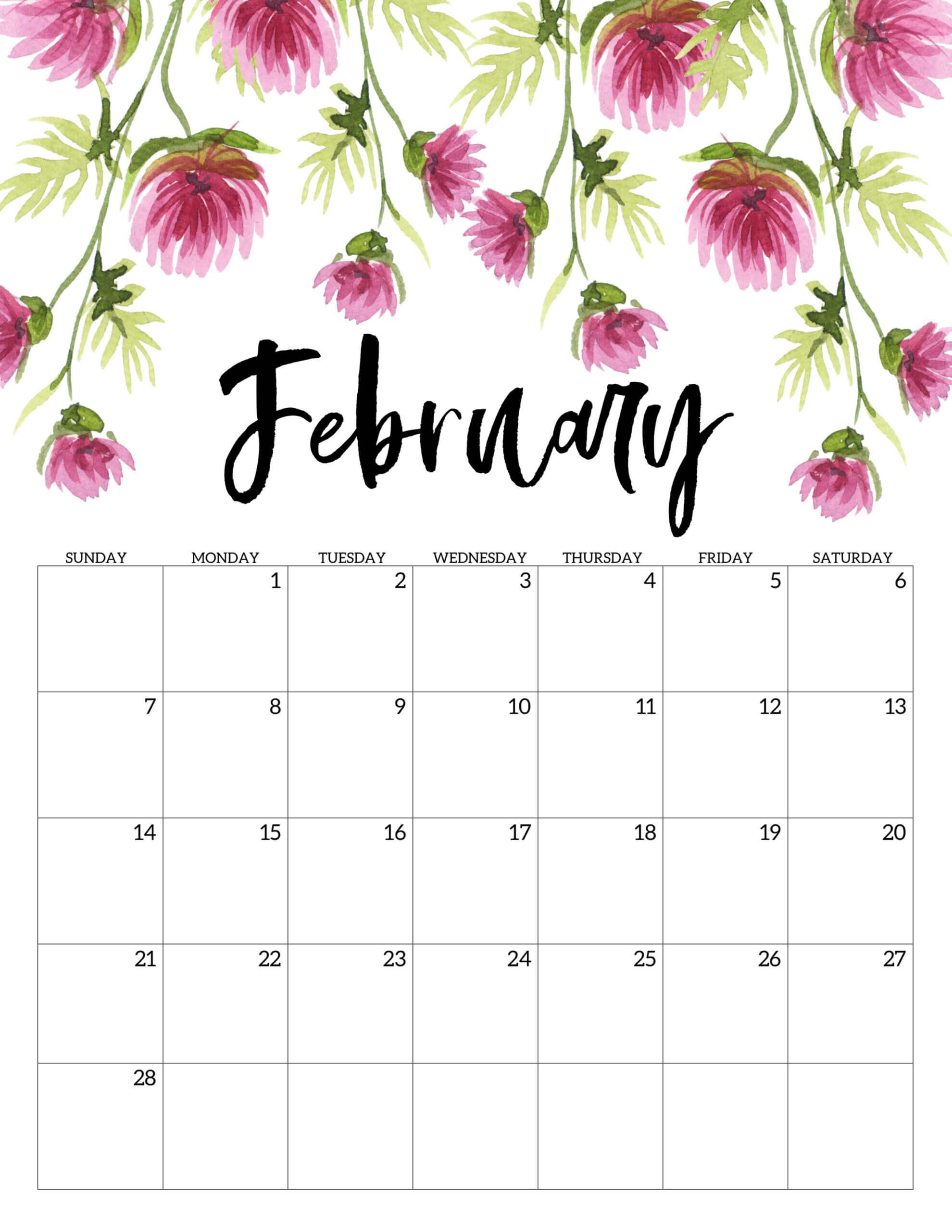 Floral February 2021 Calendar