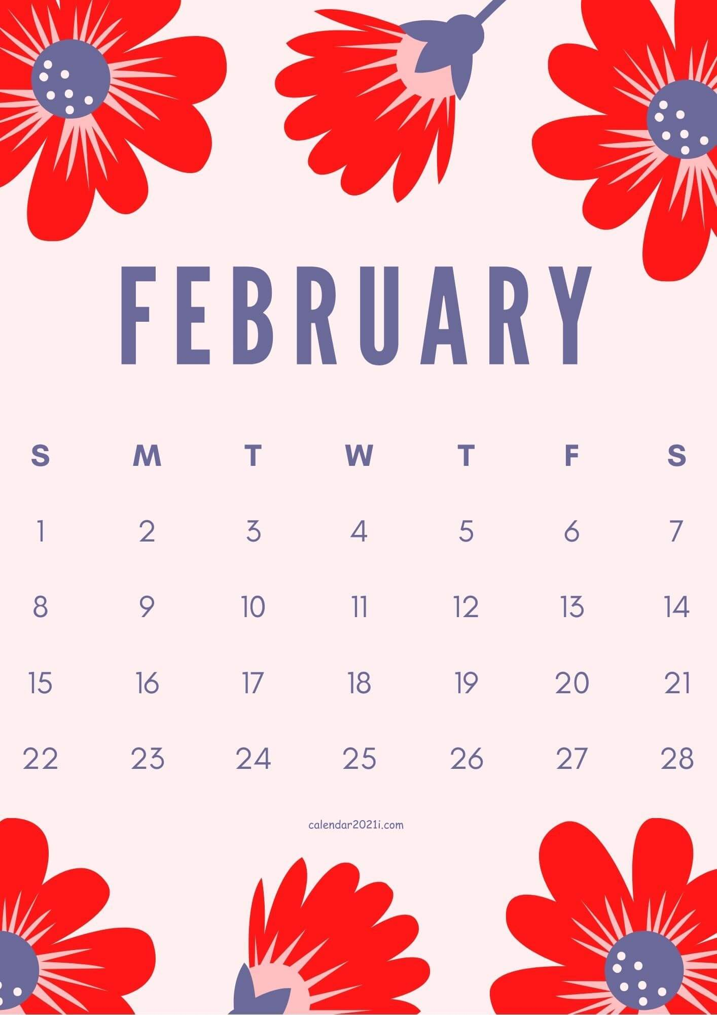 Floral February 2021 Wall Calendar