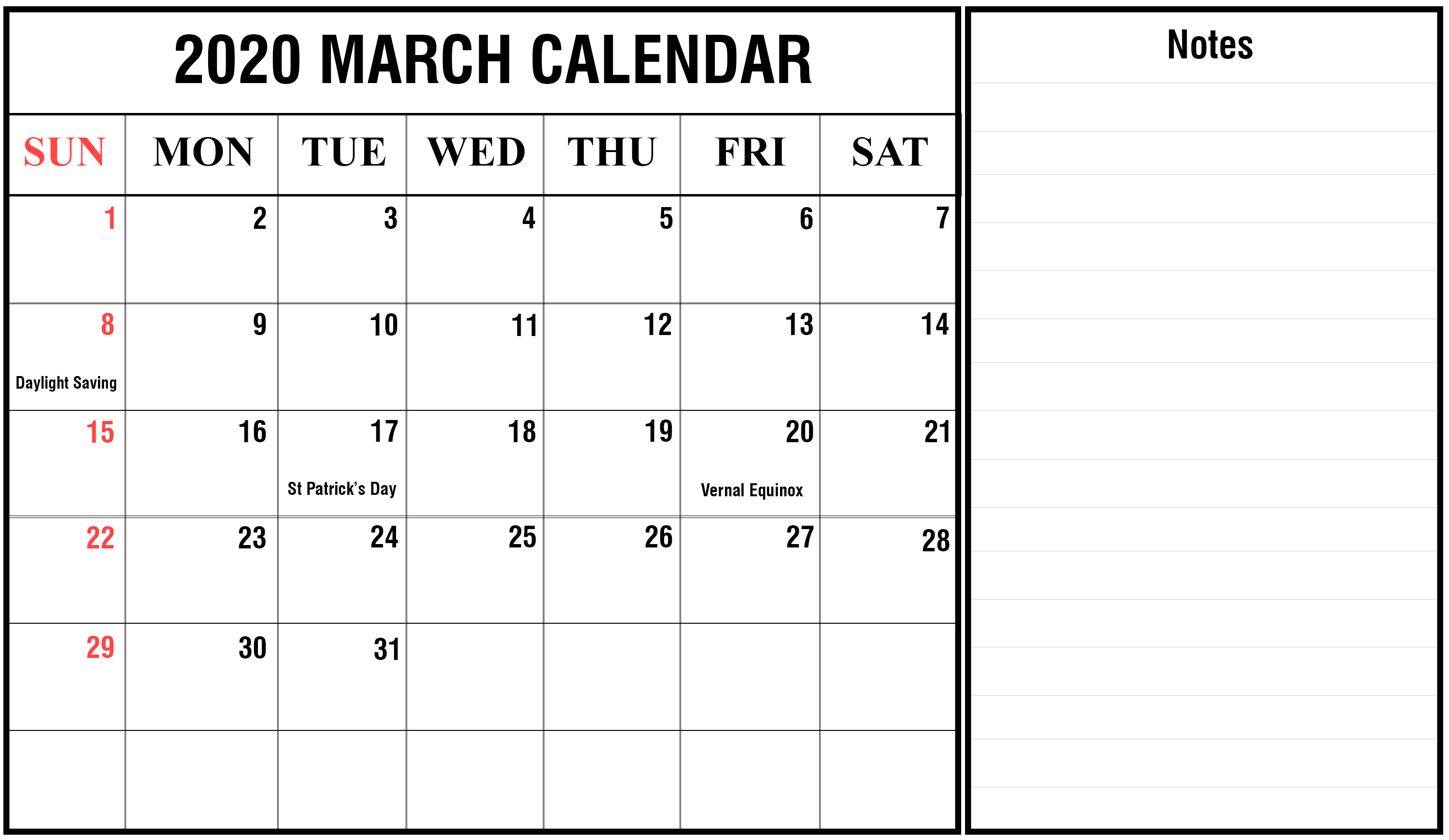 Free March 2020 Holidays Calendar Printable Template