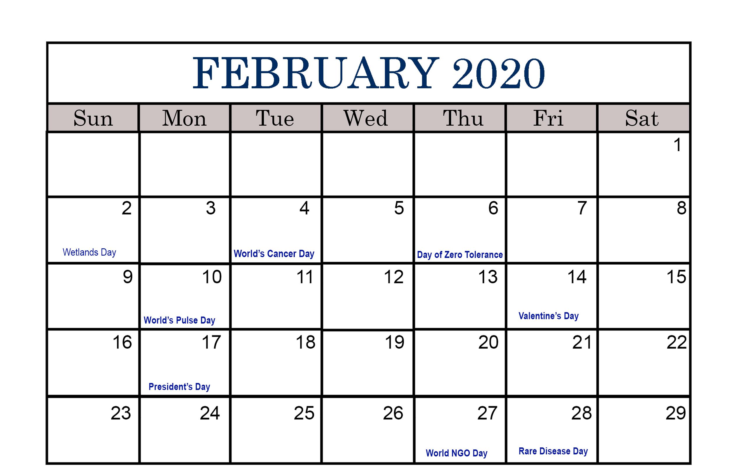 Holidays Calendar February 2020