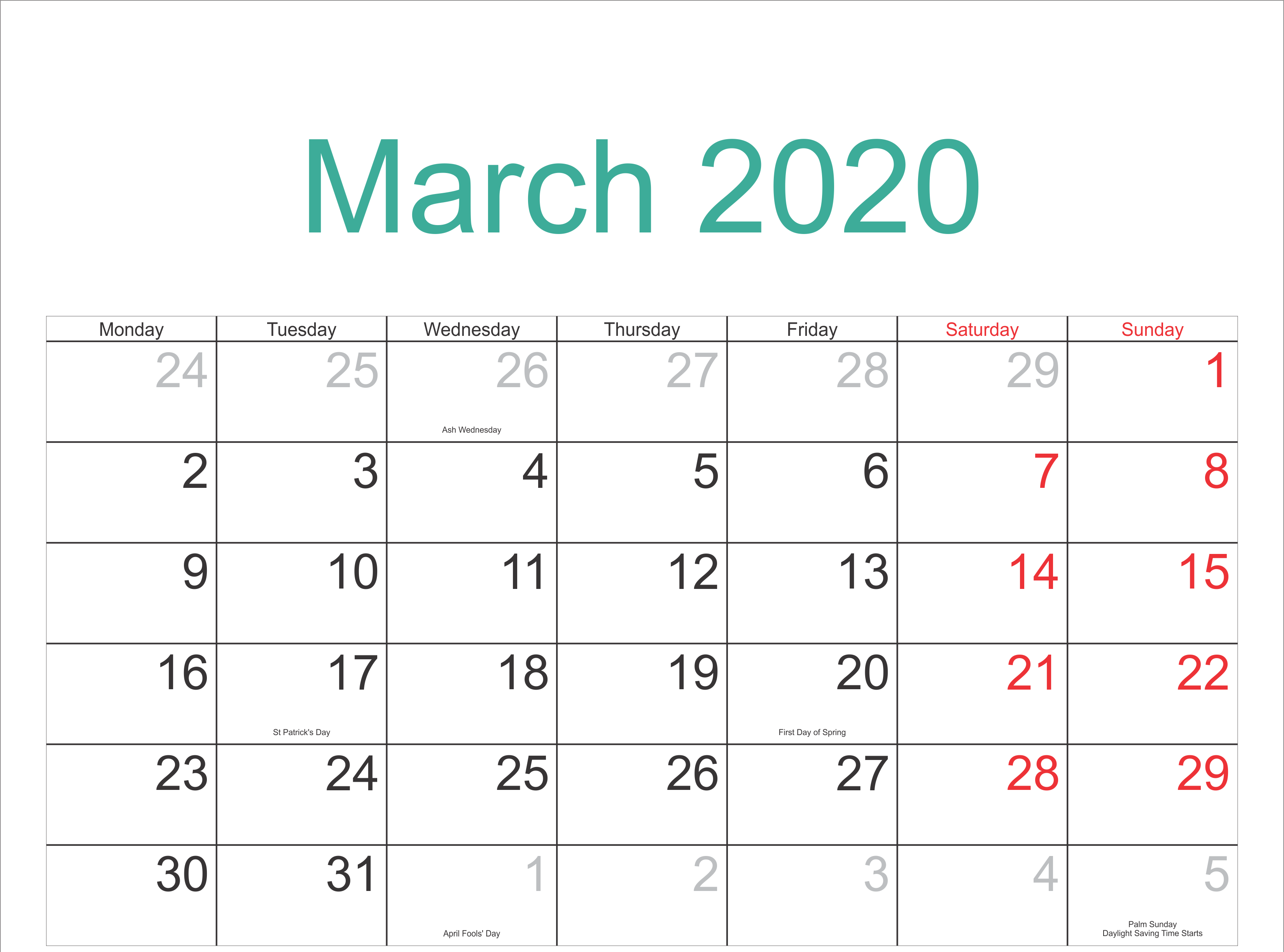 Holidays Calendar March 2020