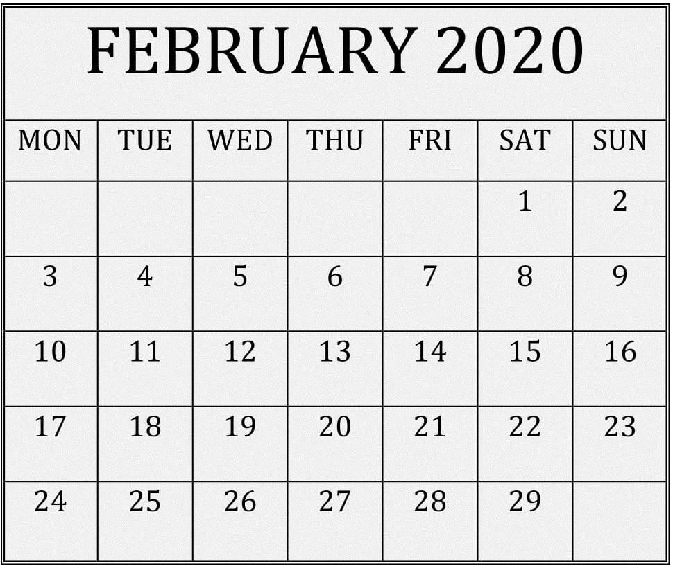 Large Print Blank Calendar February 2020