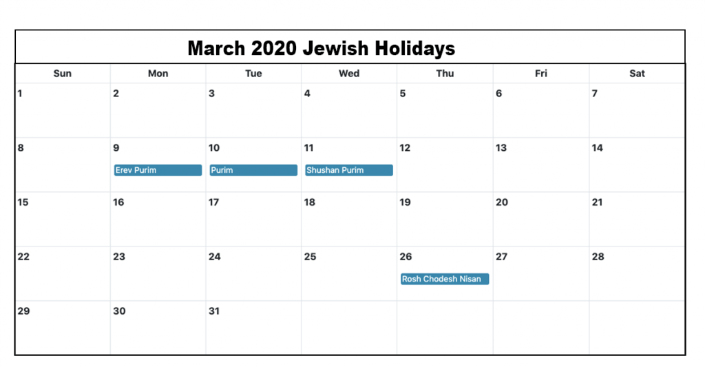 March 2020 Jewish Holidays Calendar