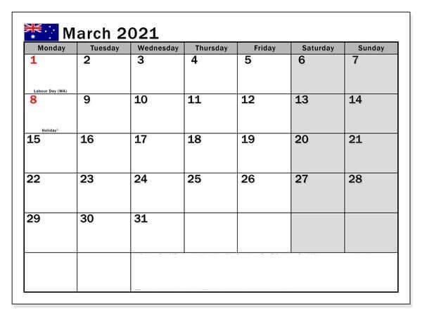 March 2021 Australia Holidays Calendar