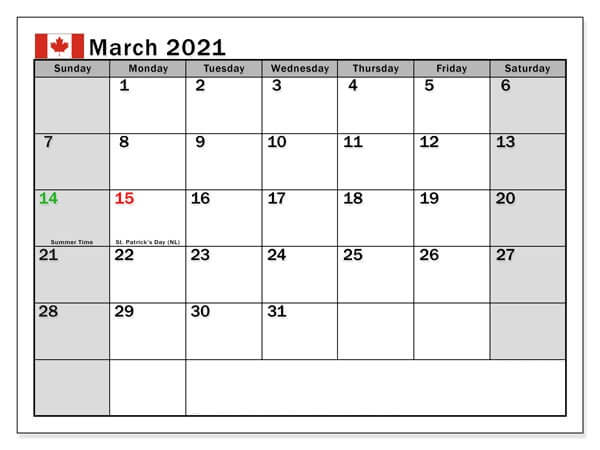 March 2021 Canada Holidays Calendar