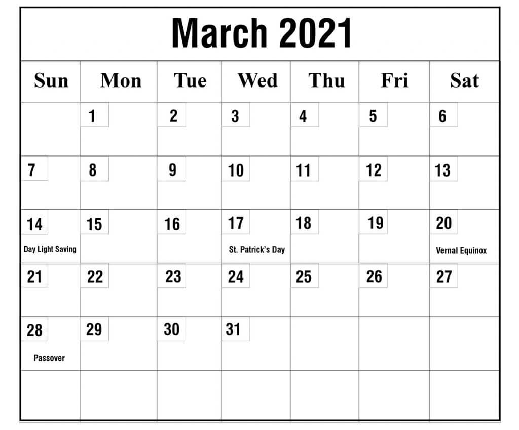 March 2021 Holidays Calendar