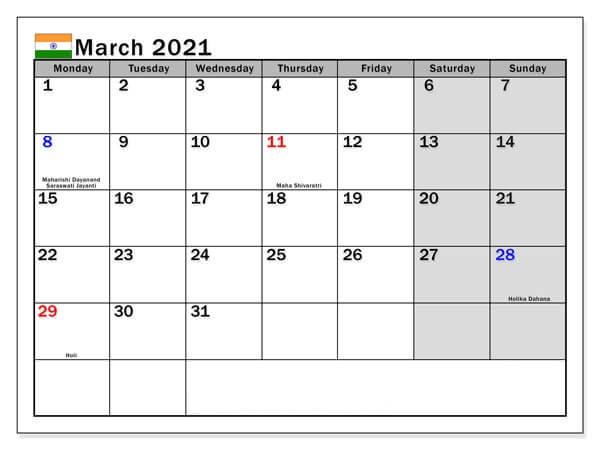 March 2021 India Holidays Calendar