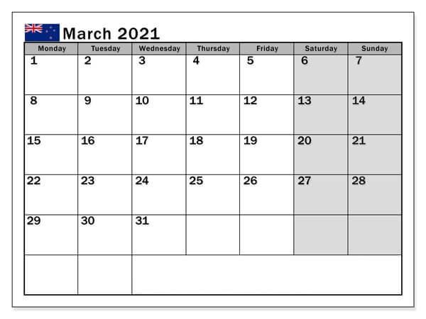 March 2021 New Zealand Holidays Calendar
