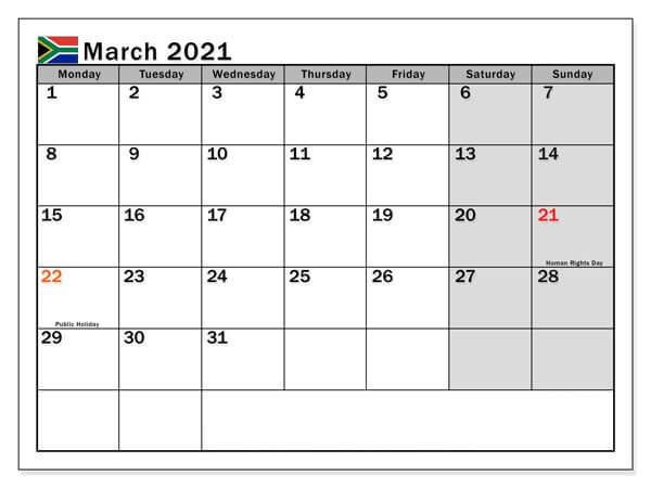 March 2021 South Africa Holidays Calendar