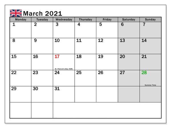 March 2021 UK Holidays Calendar