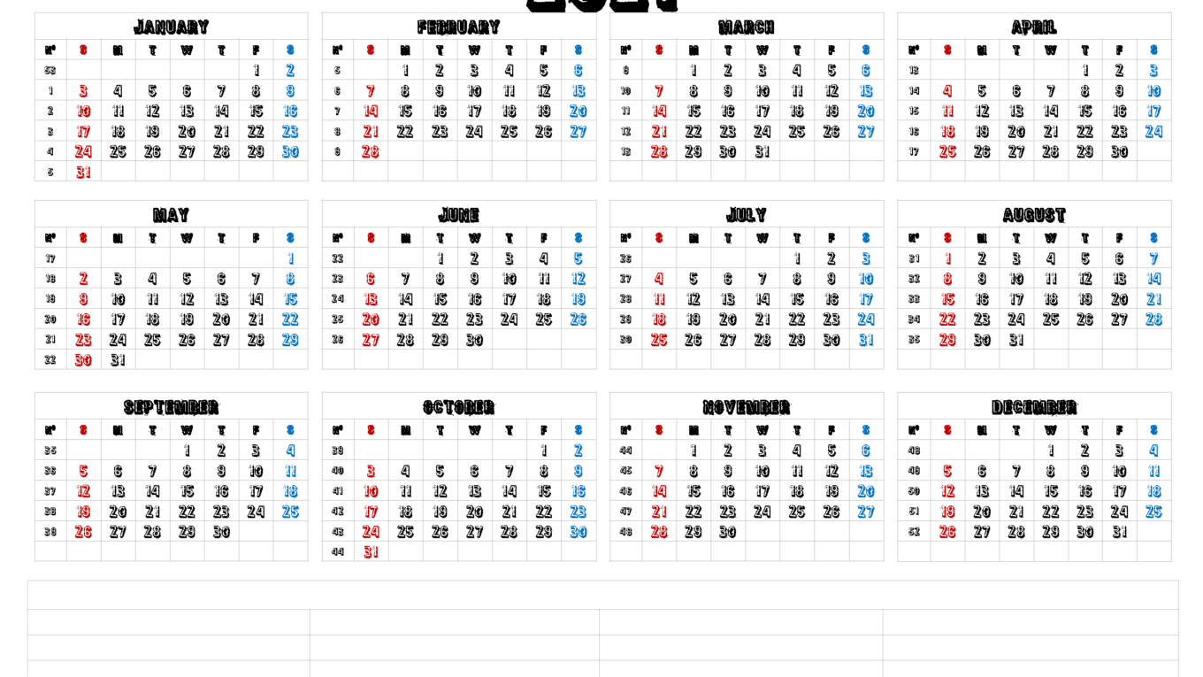 Monthly 2021 Printable Calendar