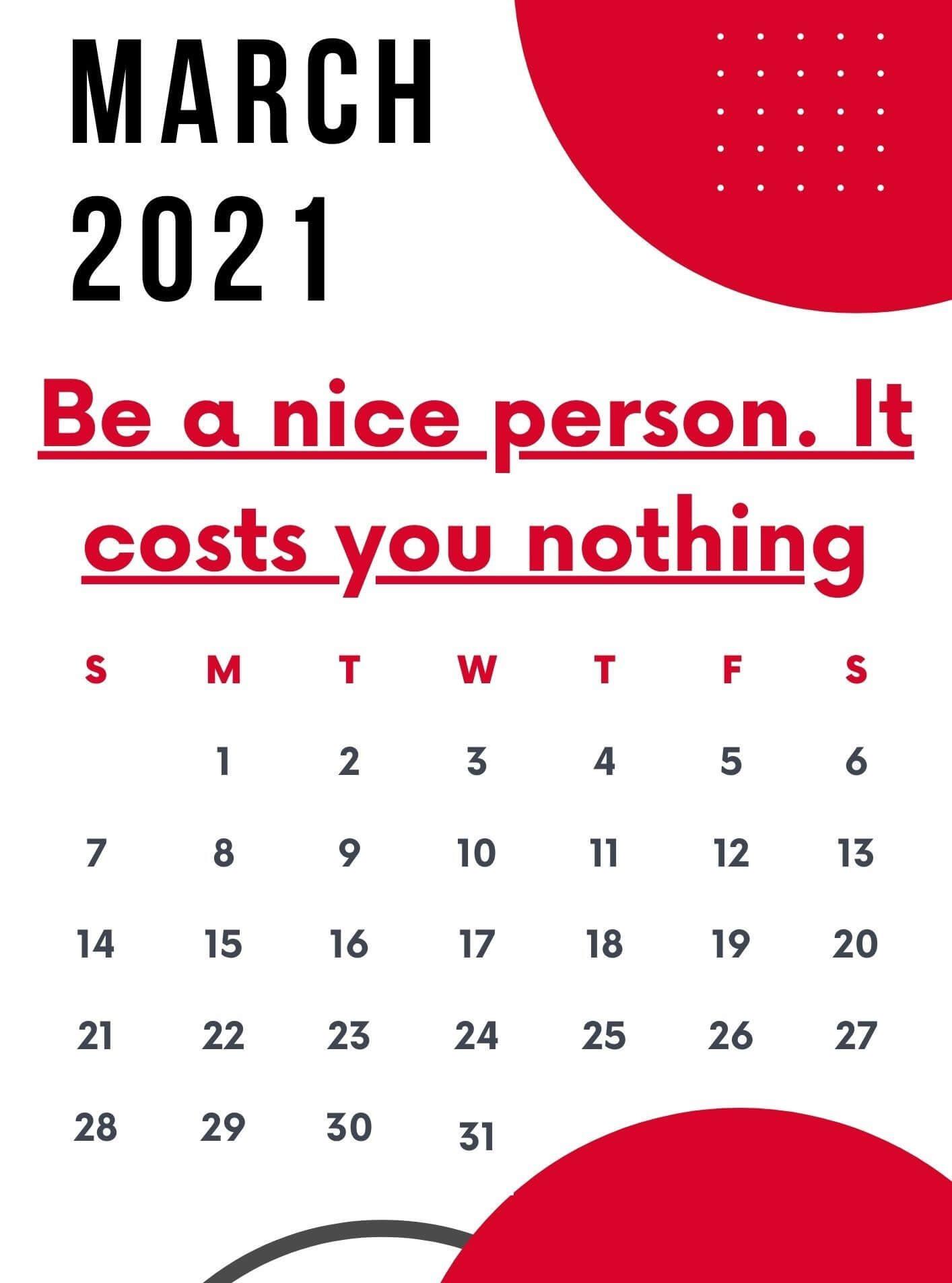 Motivational March 2021 Calendar