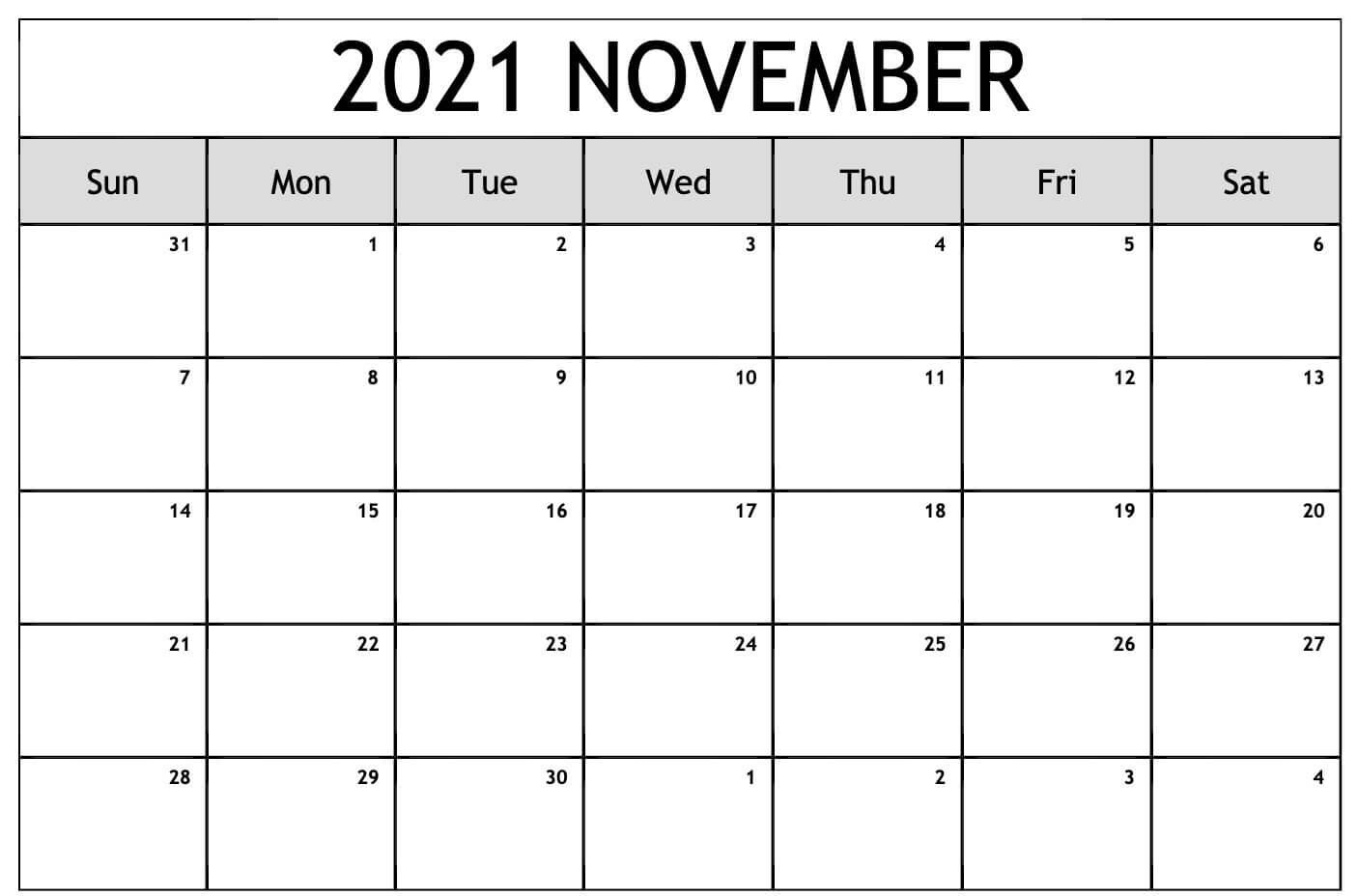November 2021 Printable Calendar