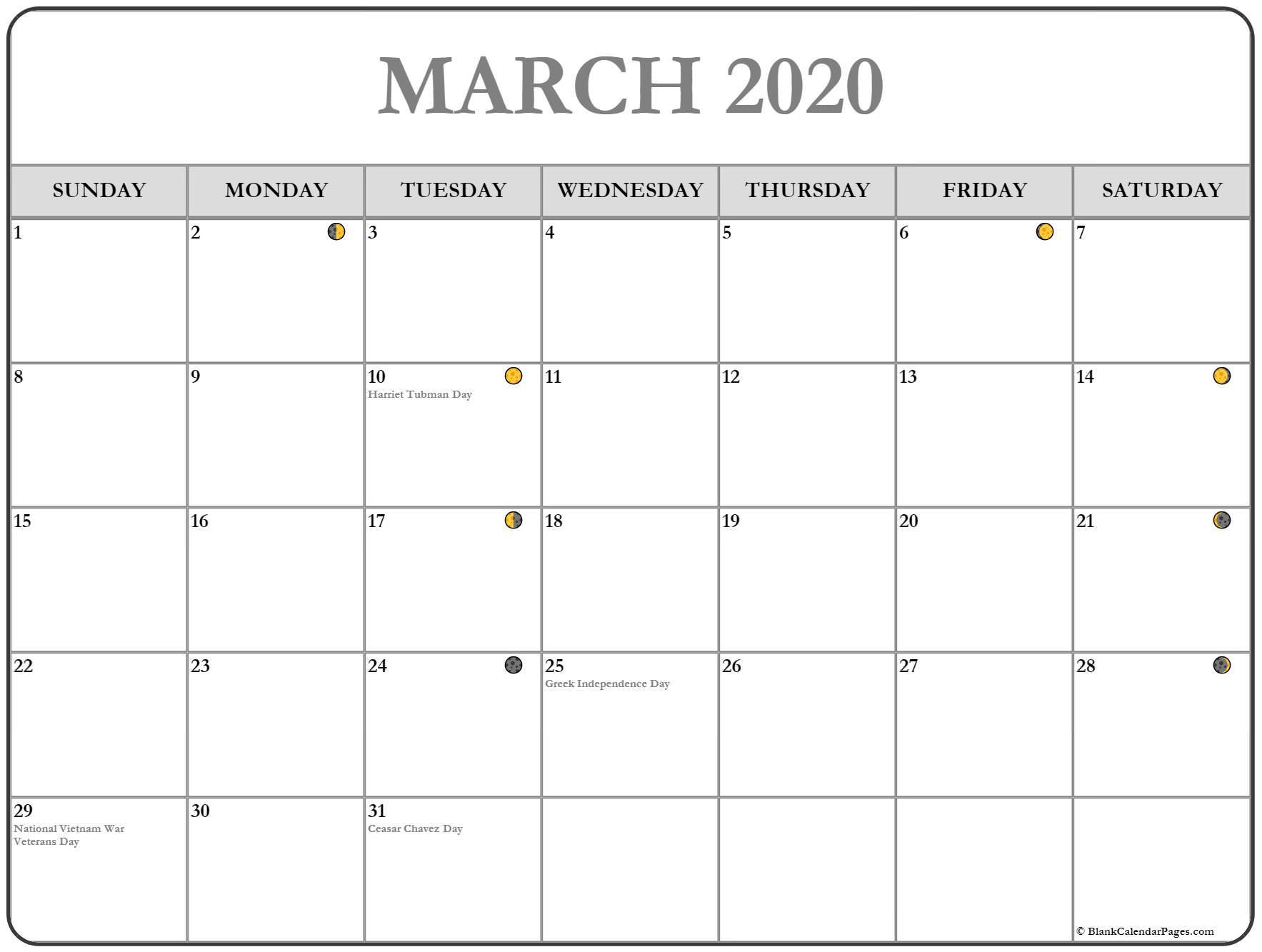 Printable March 2020 Moon Calendar