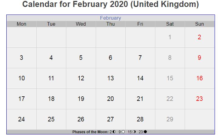 UK Holidays Calendar February 2020