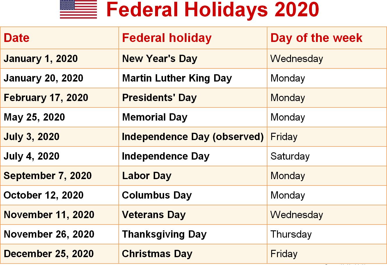 USA Federal Holidays Calendar 2020