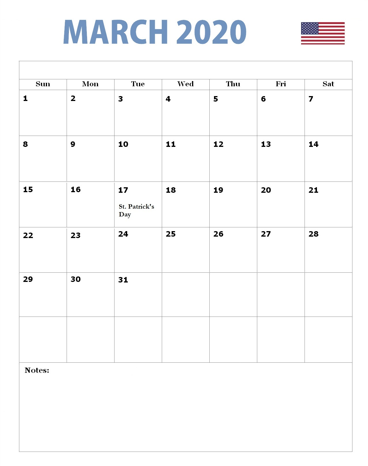 USA March 2020 Federal Holidays Calendar