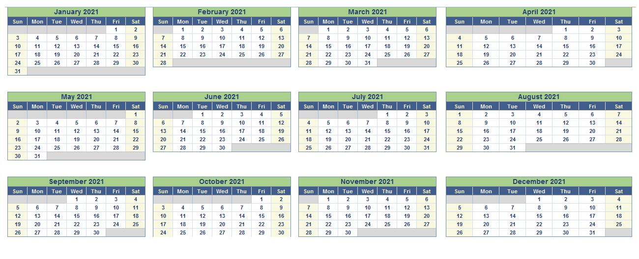 2021 Canada Excel Calendar Printable