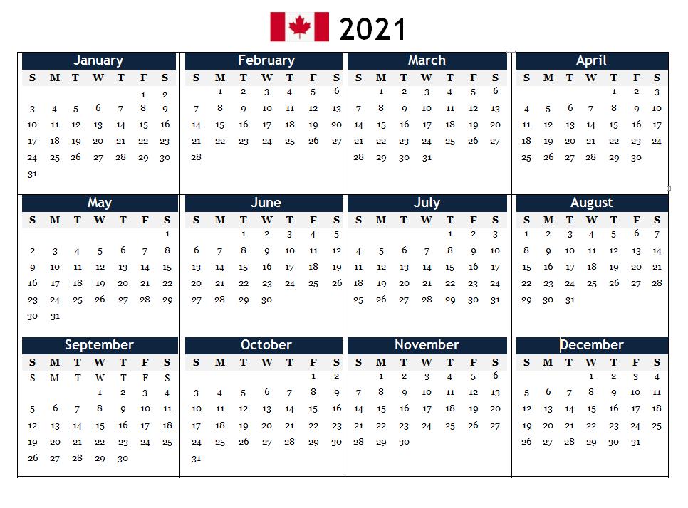 2021 Canada PDF Calendar Printable