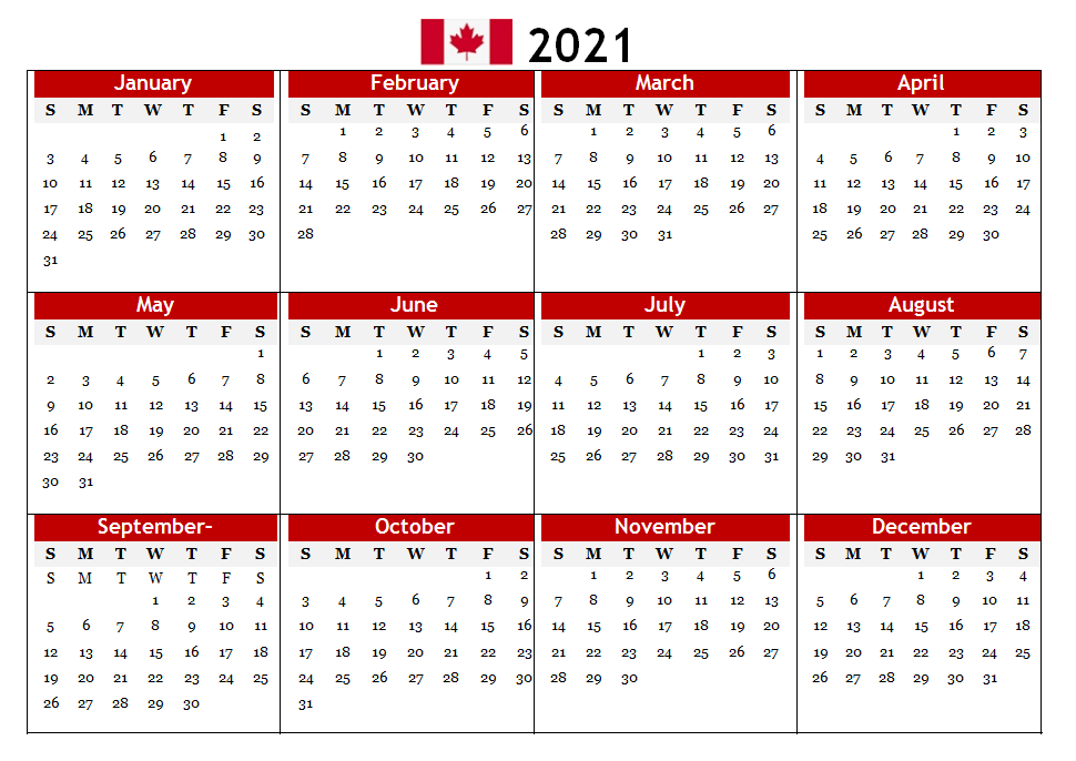2021 Canada Word Calendar Printable