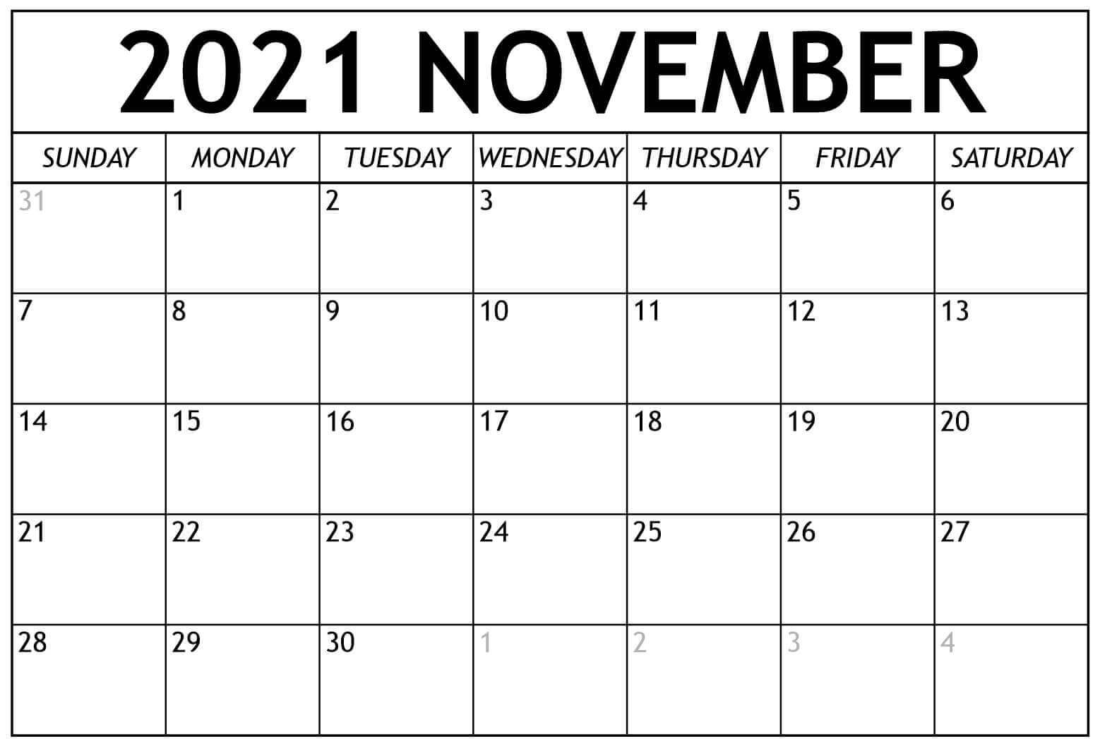 2021 November Calendar PDF