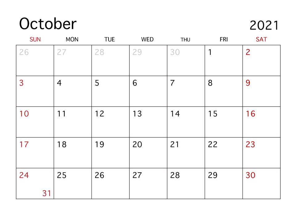 2021 October Blank Calendar