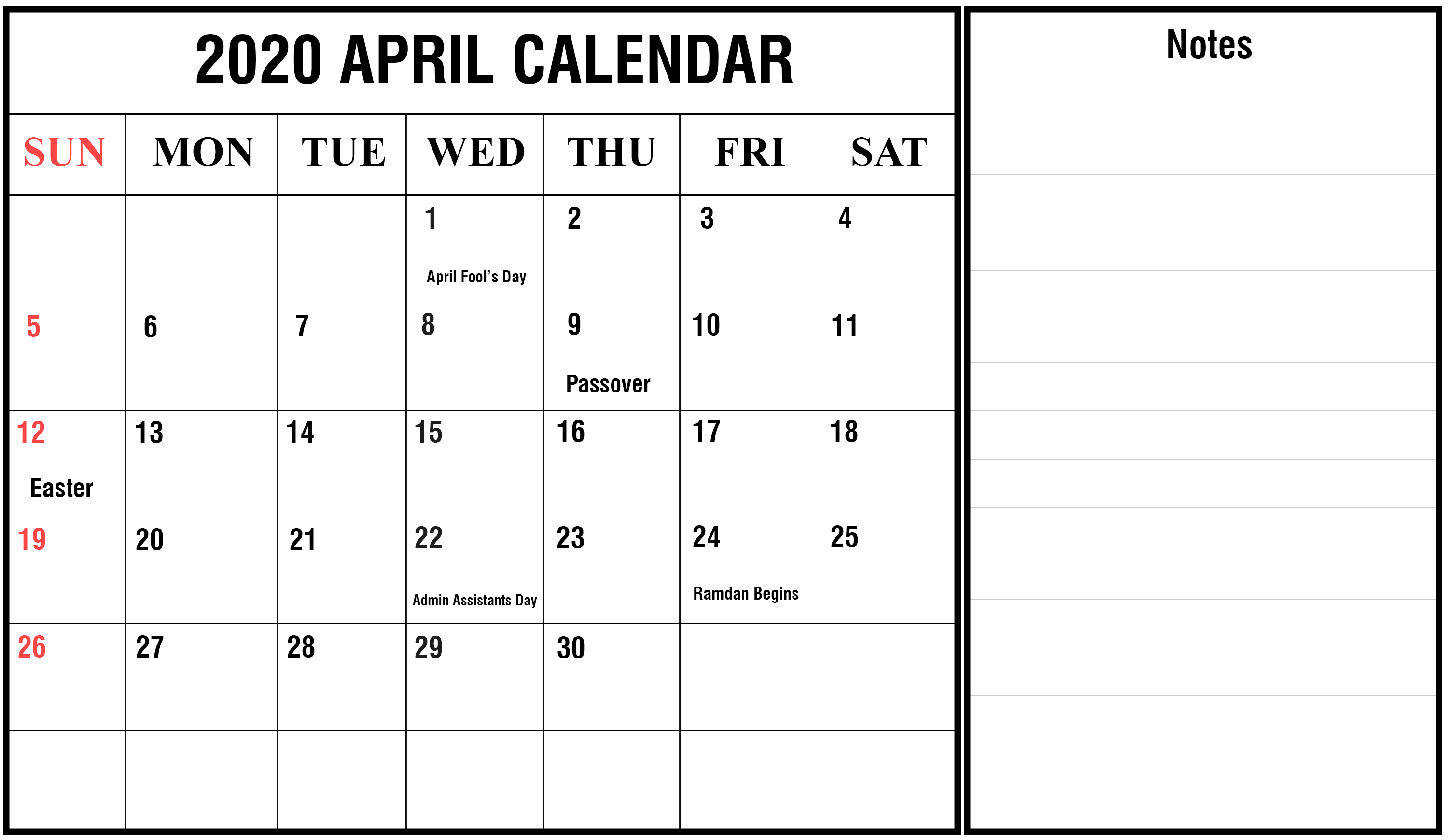 April 2020 Calendar with Holidays