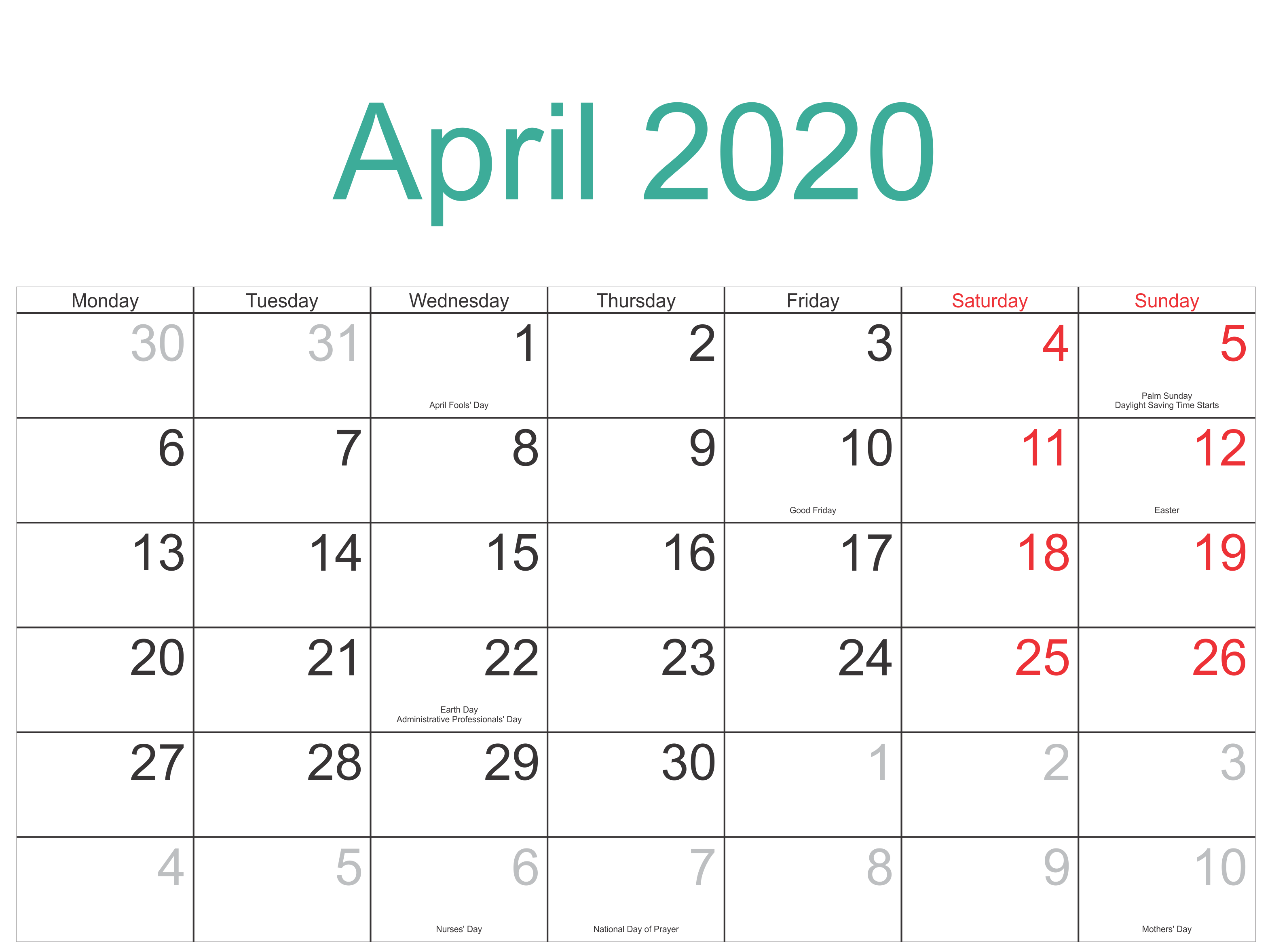 April 2020 Holidays Calendar