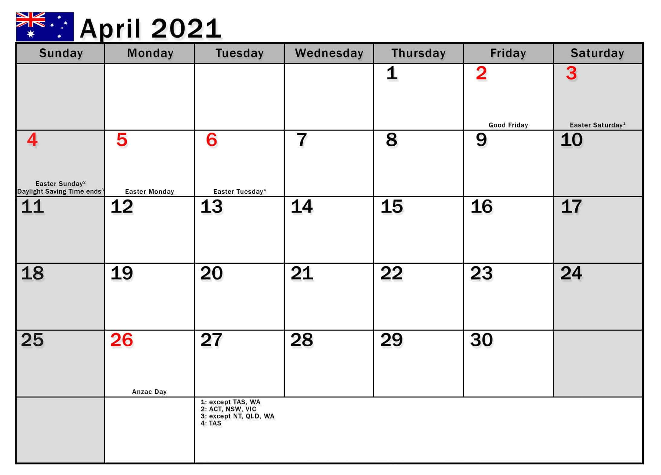 April 2021 Australiya Holidays Calendar